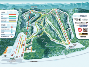 The illustrated 2015 trail map Trampoline created for West Mountain.