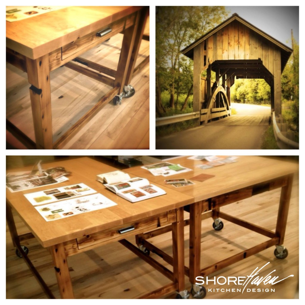 Wood table and wood covered bridge