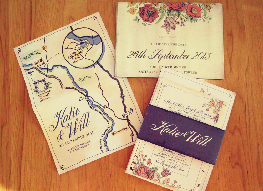 Our Save-the-Date, Invitation and map (by yours truly)