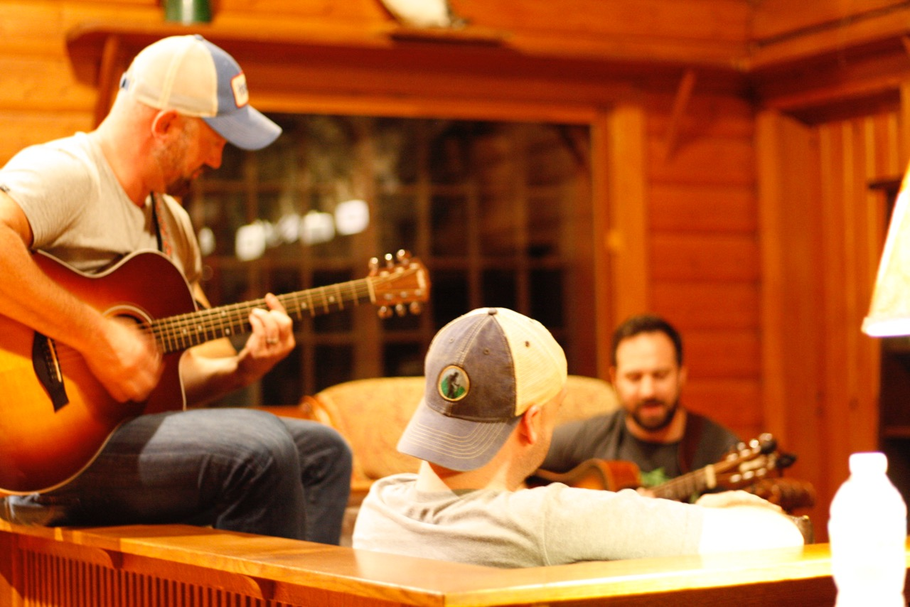 A late-night jam session at Huntington Lodge.