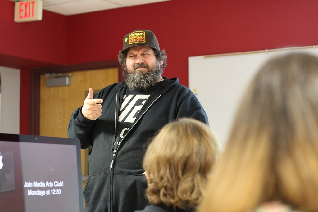 Aaron Draplin running the design workshop.