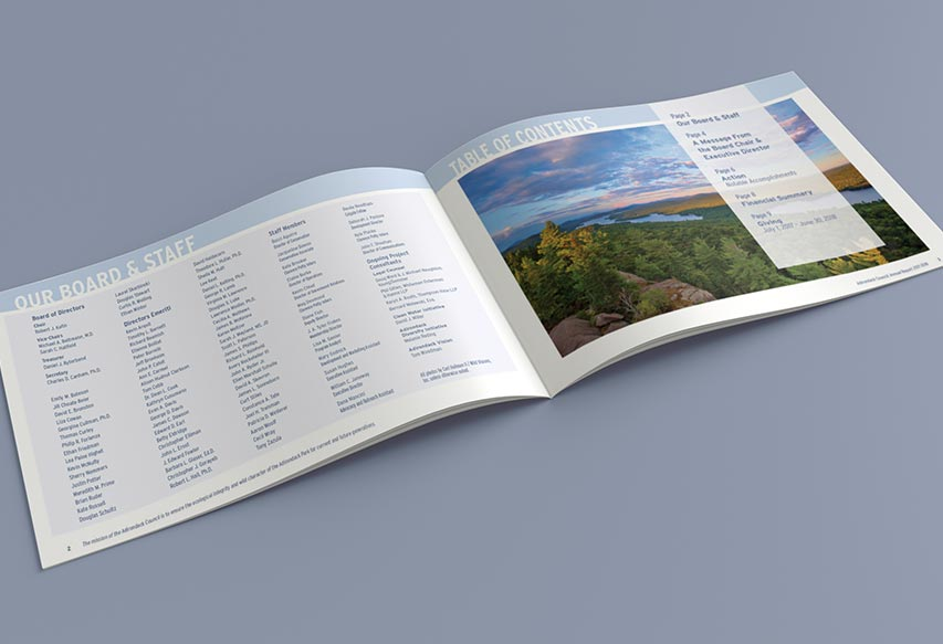 ADKCouncil Annual Report table of contents