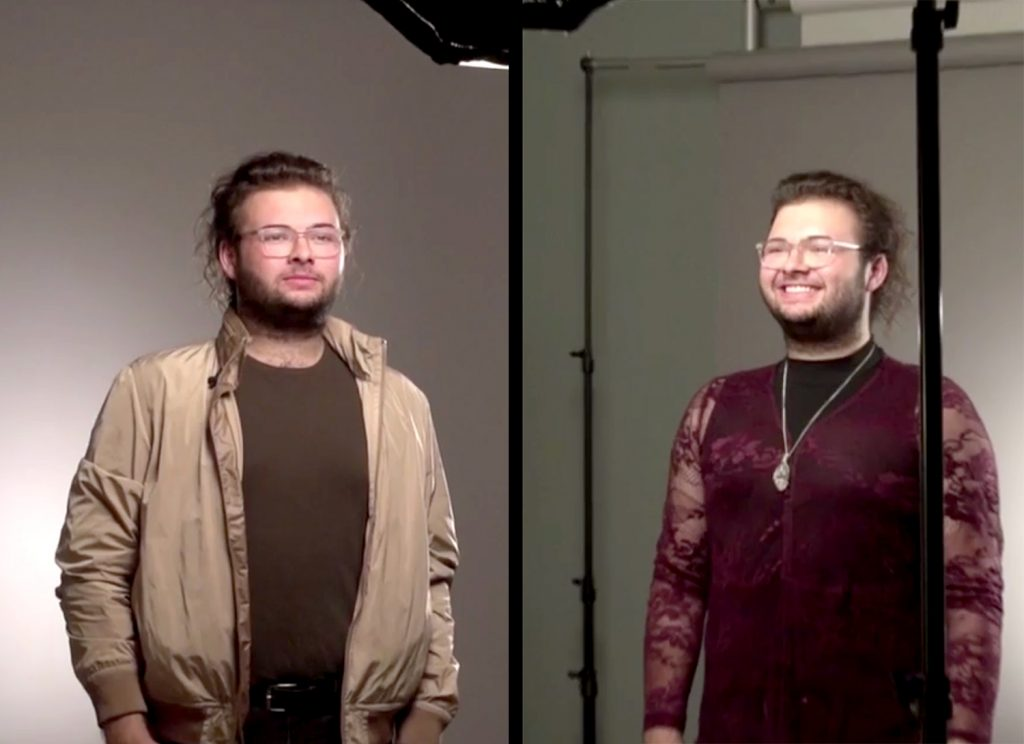 A split screen photo shoot with a male college student in two different outfits, the first in traditional masculine clothing, in the second he is in a burxgand lace gown.
