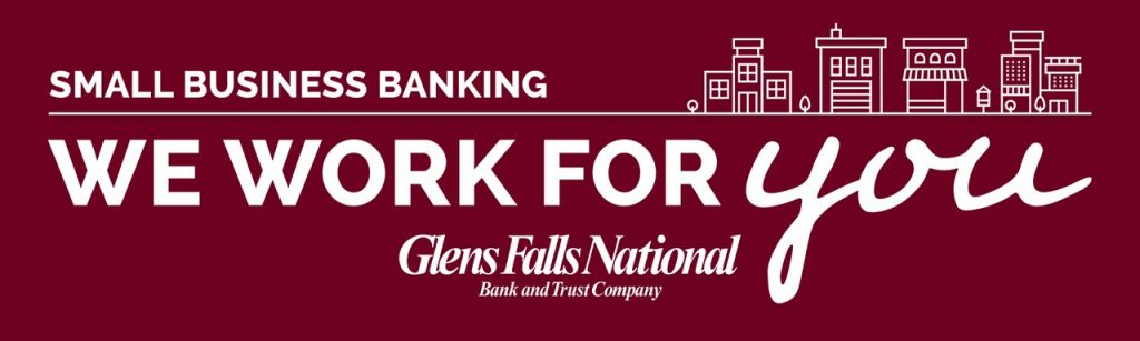 "A digital banner ad reading in white type against a deep red background, ""Small Business Banking, we work for you. Glens Falls National Bank and Trust Company."""