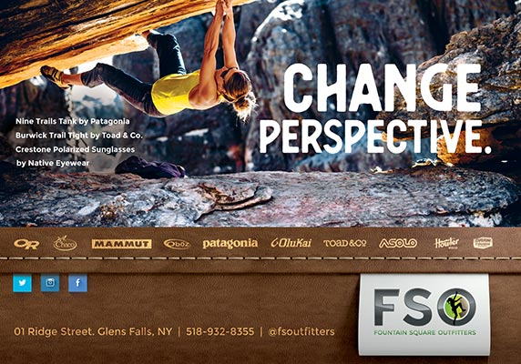 Fountain Square Outfitters ad with rock climber