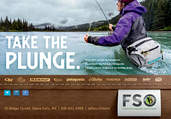 Fountain Square Outfitters ad with fly fisherman
