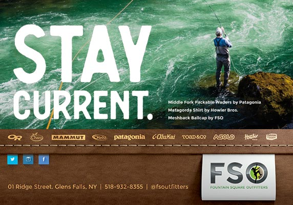 Fountain Square Outfitters ad with flyer fisherman standing in river