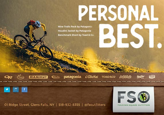Fountain Square Outfitters ad with mountain biker