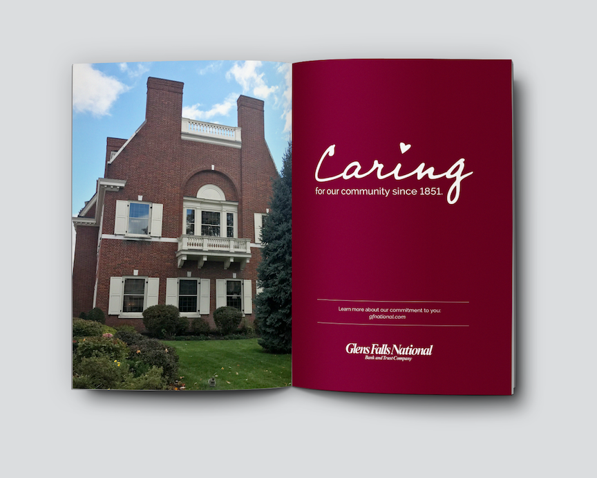"An image of Glens Falls National Bank's brick building on Glen Street in Downtown Glens Falls alongside a page reading, ""Caring for our community since 1851."""