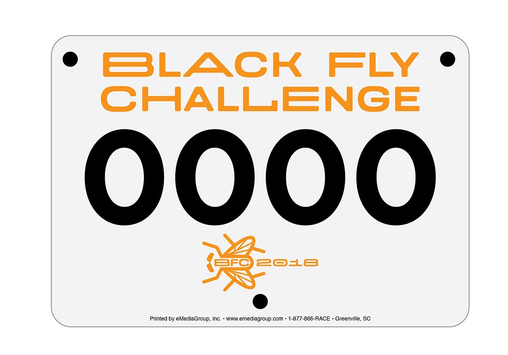 Black Fly Challenge Race number plate