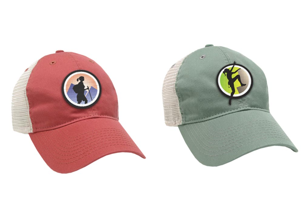 Fountain Square Outfitters red and green hats