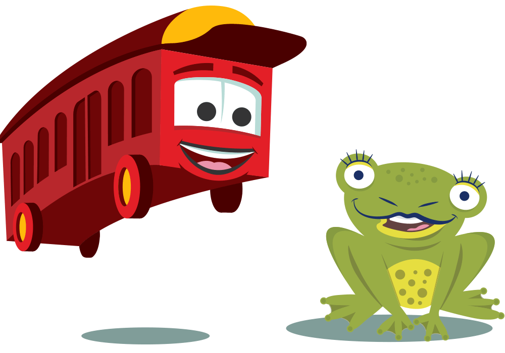 Lake George RV Park Bus and Frog Cartoon Characters
