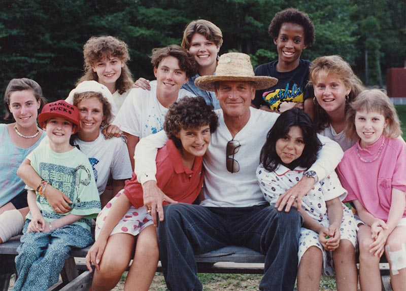 Paul Newman with group of camper