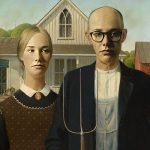 "Kacey Visser as ""American Gothic"", Grant Wood"
